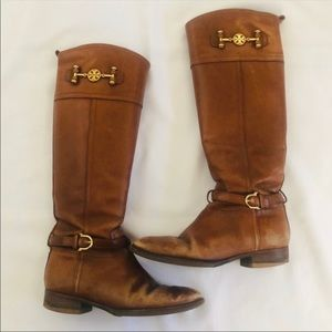 Tory Burch Nadine Riding Boots Leather 7.5 7 1/2
